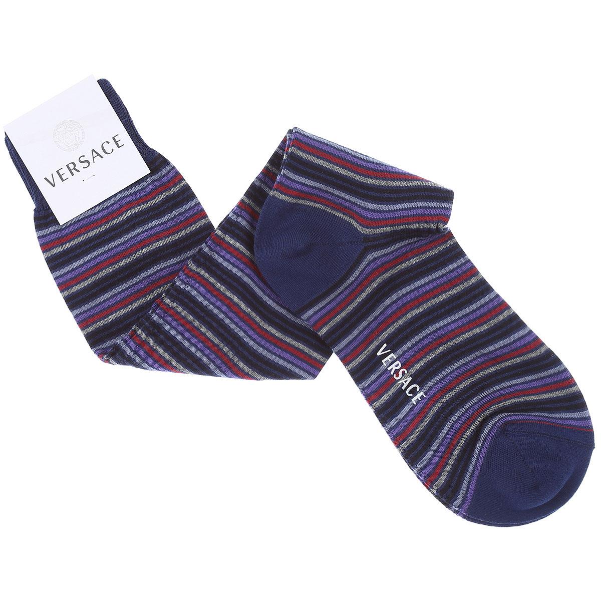 Versace Socks Socks for Men On Sale, Blue, Cotton, 2019, 10 (Shoe Size: EU 42 - US 8) 11 (Shoe Size: EU 43 - US 9)