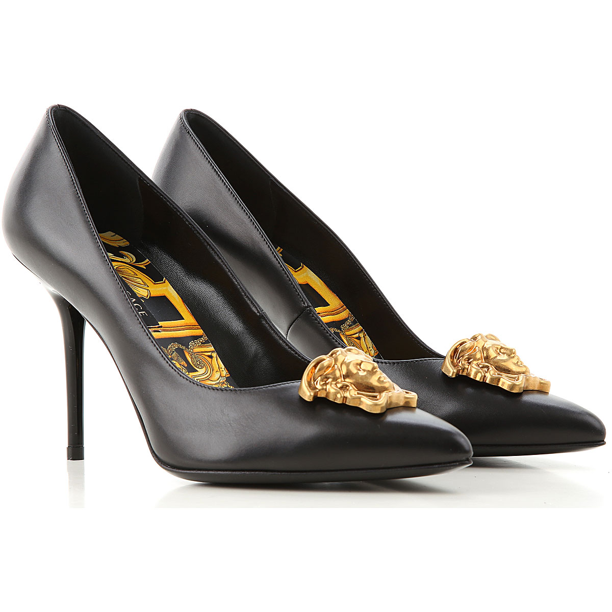Gianni Versace Pumps & High Heels for Women On Sale, Black, Leather, 2019, 5.5 8