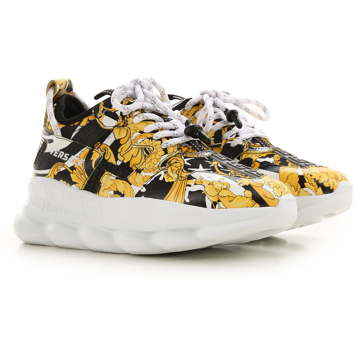 Gianni Versace Sneakers for Women On Sale, Yellow, Leather, 2019, 6 6.5 7 8 8.5 9
