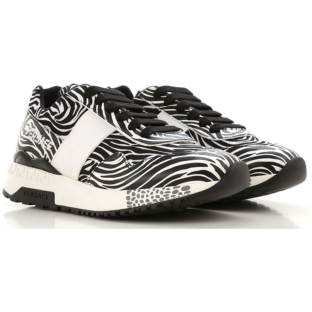 Gianni Versace Sneakers for Women On Sale, Zebra-Striped, Leather, 2019, 5 6 7 8 9