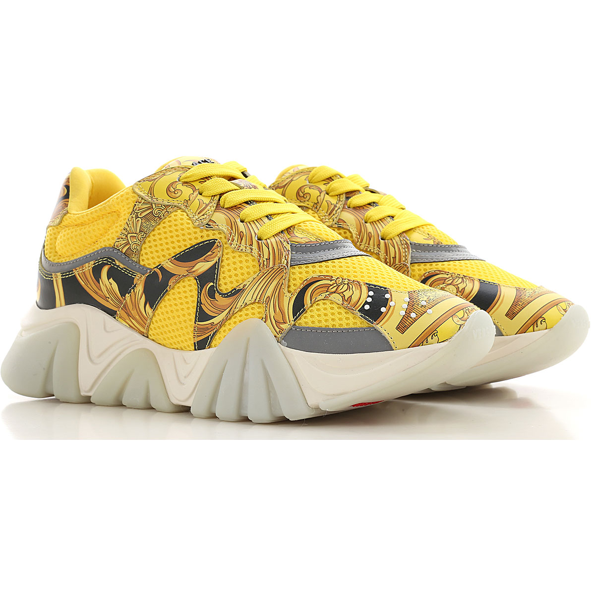 Gianni Versace Sneakers for Women On Sale, Yellow, Leather, 2019, 10 5.5 6 6.5 7 8 8.5 9 9.5