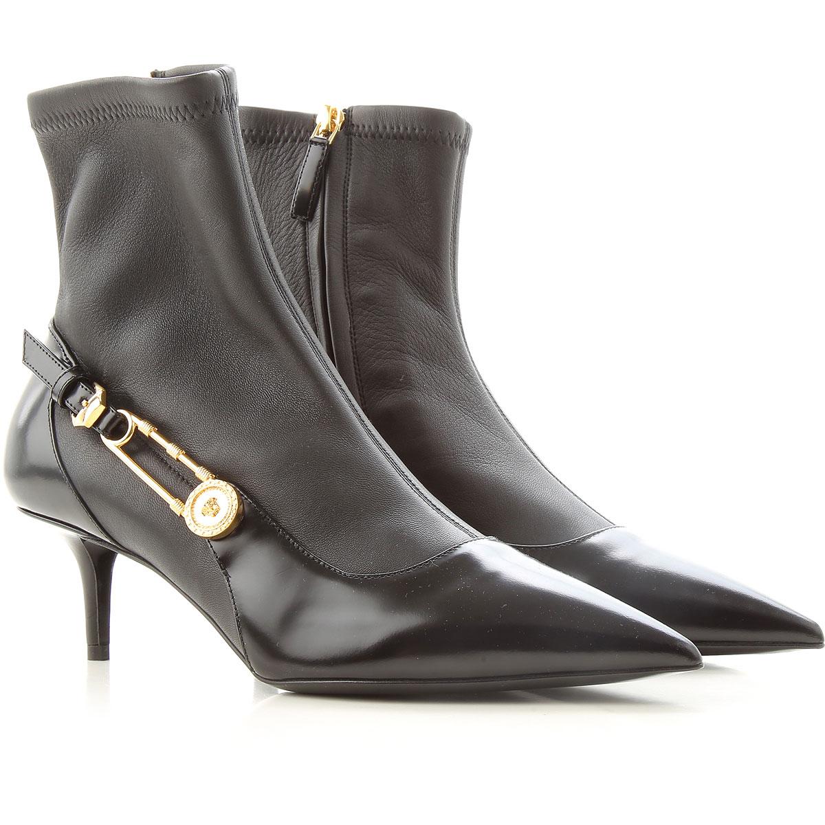 Gianni Versace Boots moterims, Booties, juodi, oda, 2019, 36 37 39 40