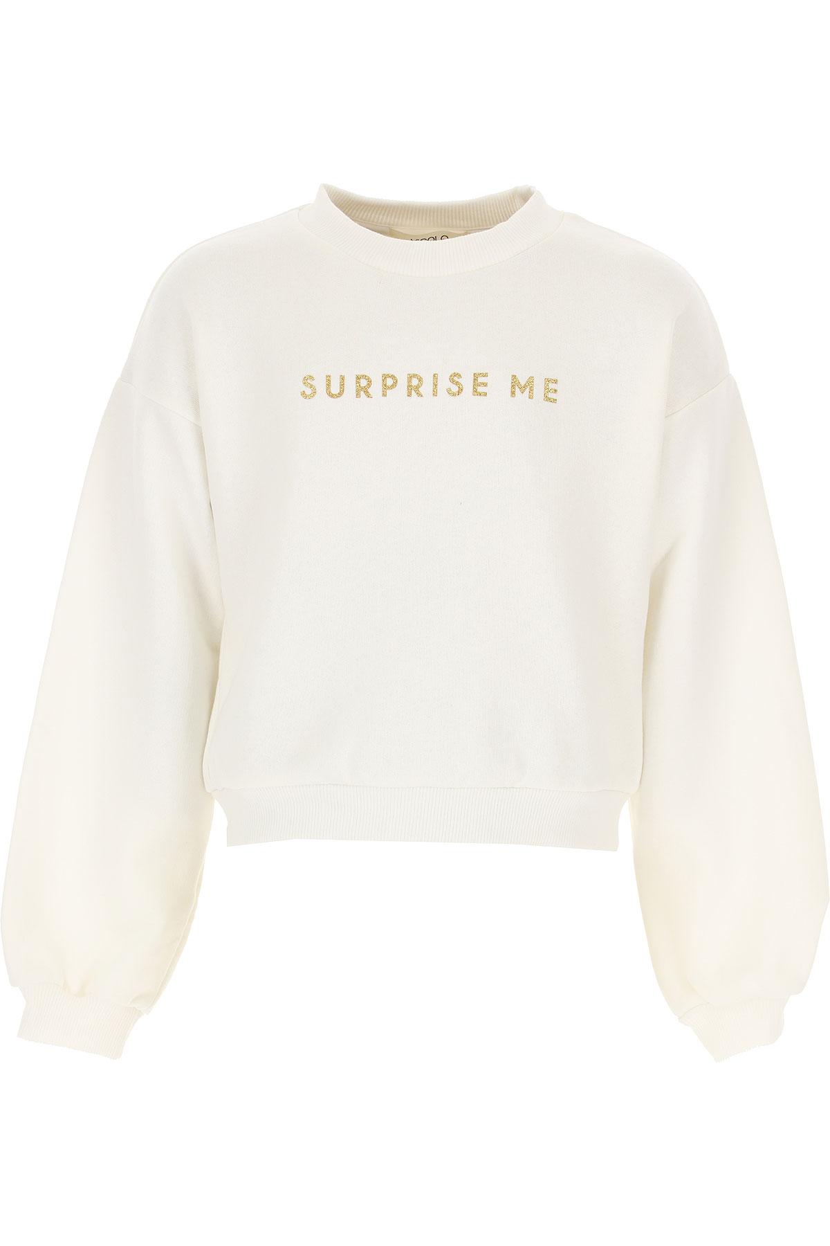 Vicolo Kids Sweatshirts & Hoodies for Girls On Sale, Milk, Cotton, 2019, 10Y 12Y 6Y