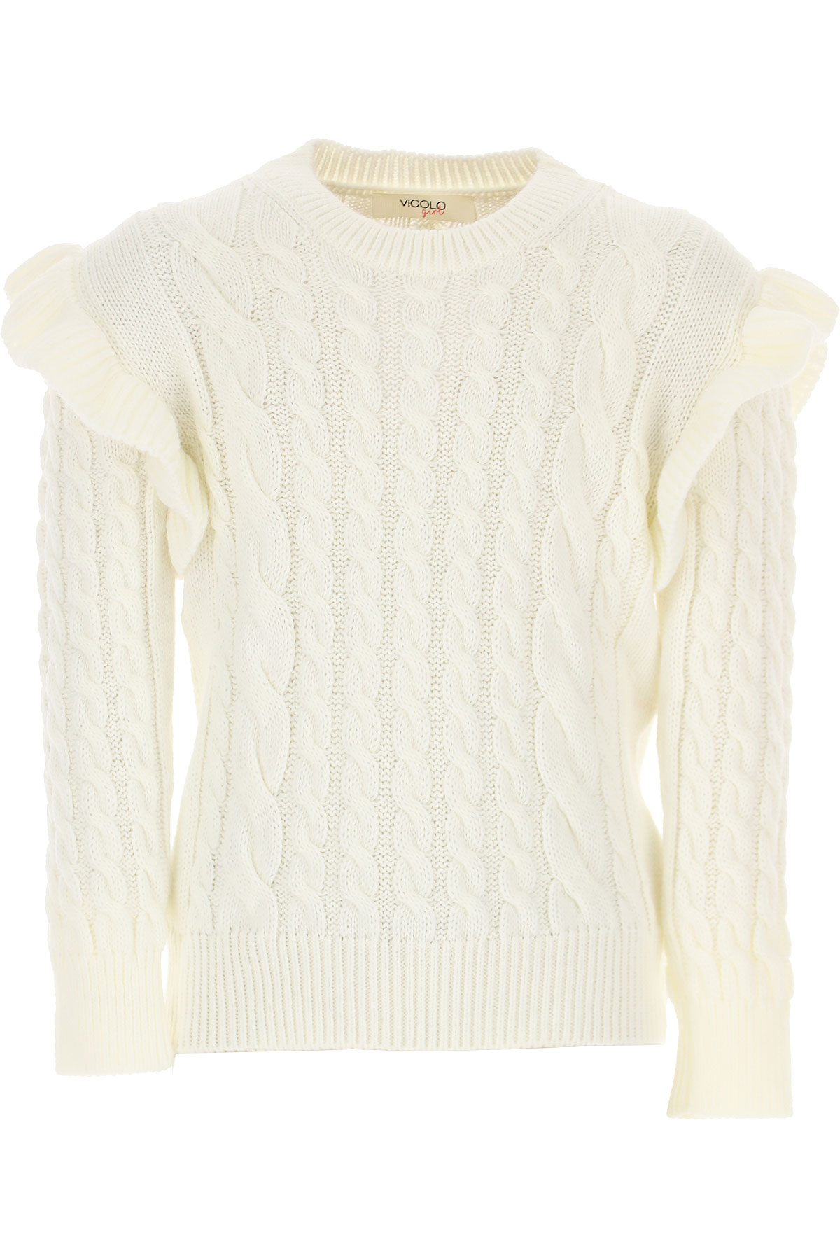 Vicolo Kids Sweaters for Girls On Sale, White, polyacrylic, 2019, 10Y 12Y 6Y