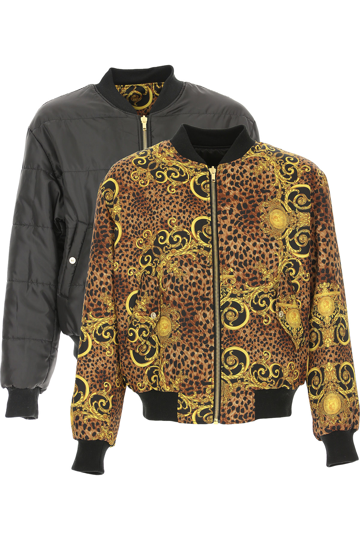 Versace Jeans Couture Down Jacket for Men, Puffer Ski Jacket On Sale, Reversible, Leopard, polyester, 2019, L M