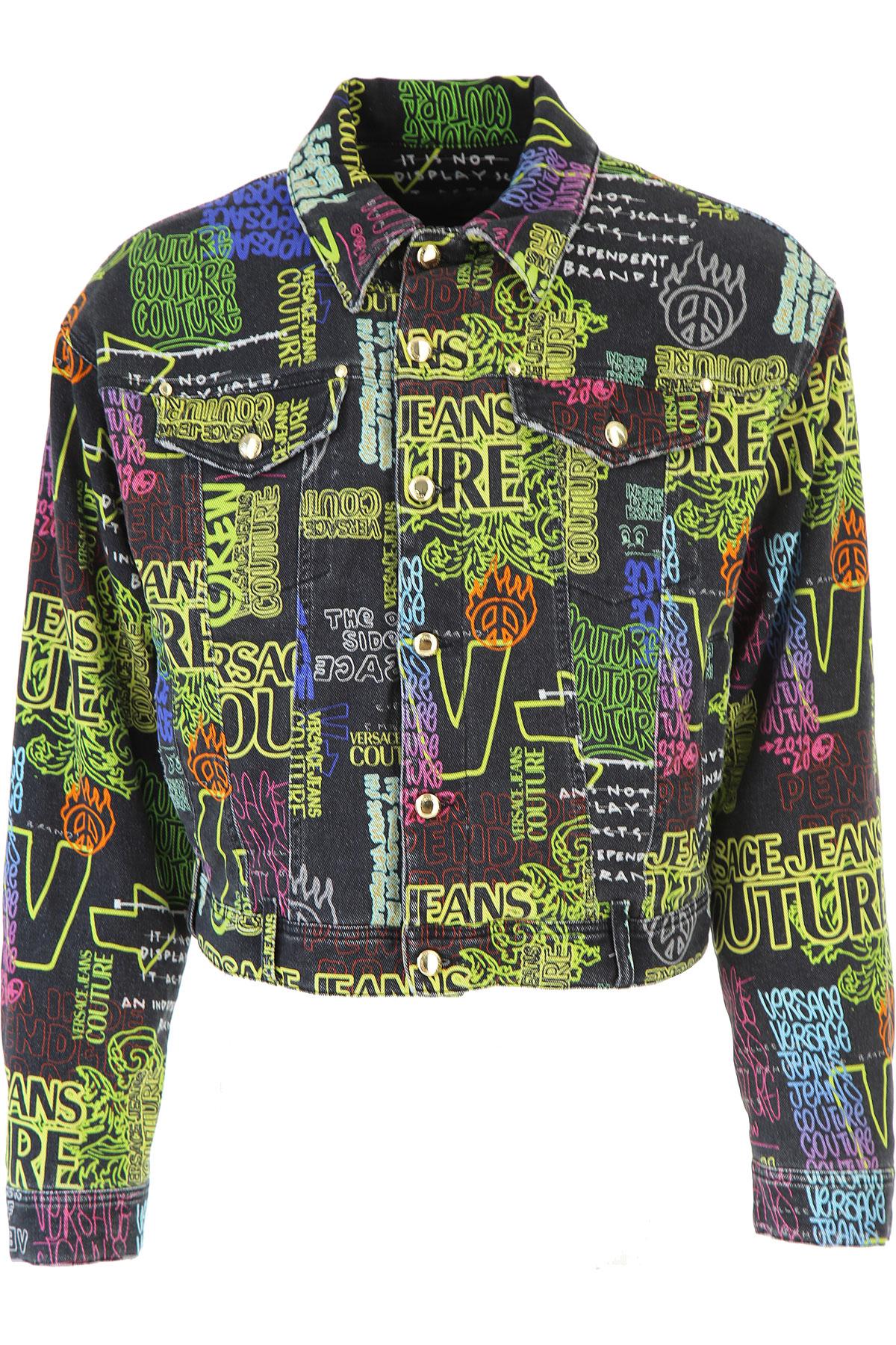 Versace Jeans Couture Jacket for Men On Sale, Black Denim, Cotton, 2019, L M XL XXL