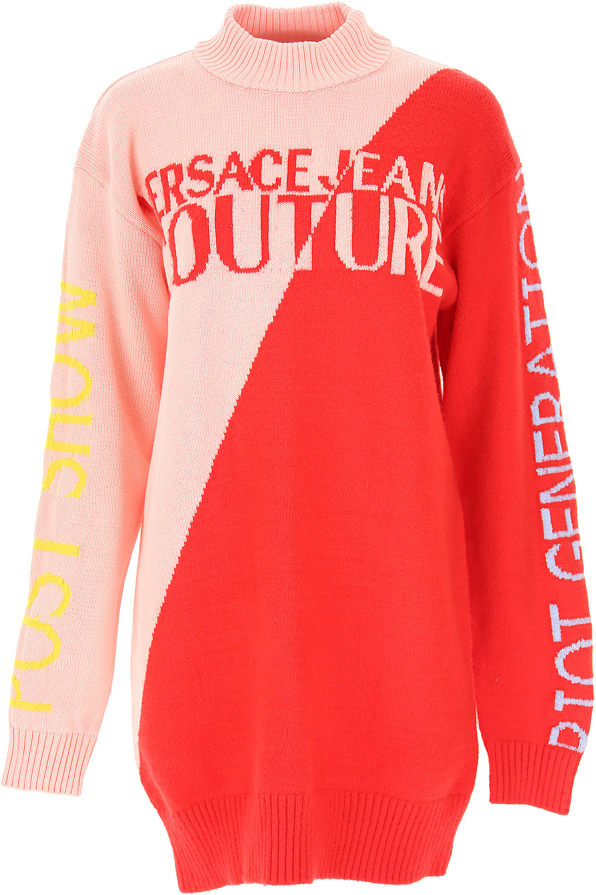 Versace Jeans Couture Dress for Women, Evening Cocktail Party On Sale, Red, Cotton, 2019, 2