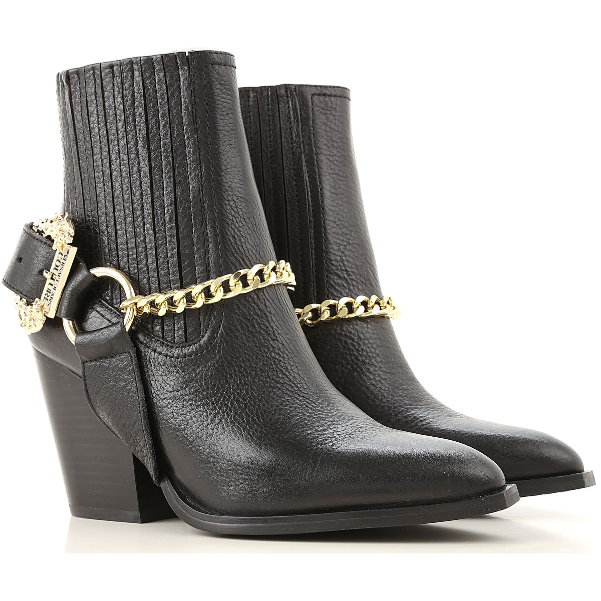 Versace Jeans Couture Boots for Women, Booties On Sale, Black, Leather, 2019, 5.5 6 6.5 7 8 8.5 9