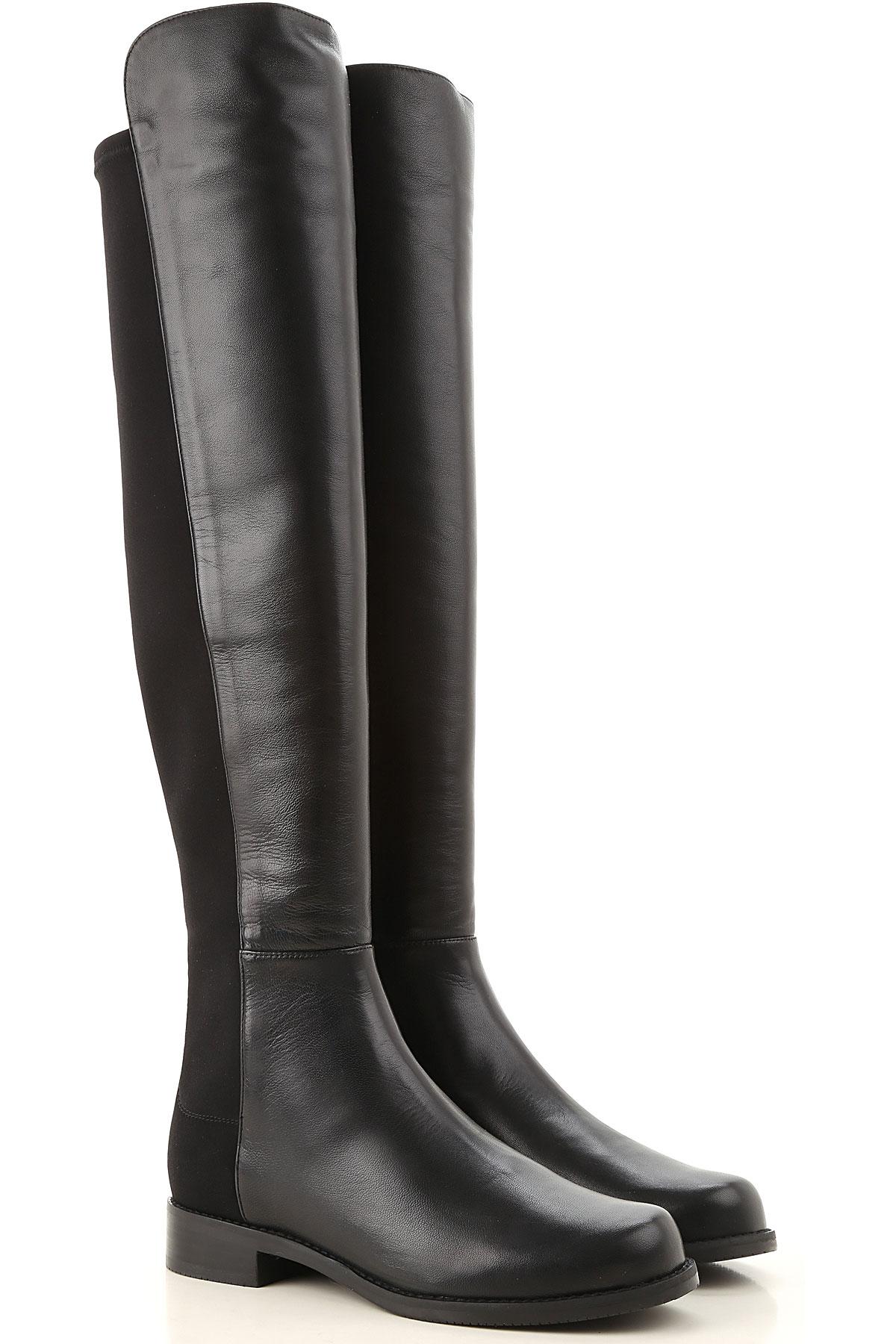 Stuart Weitzman Boots for Women, Booties On Sale, Black, Leather, 2019, US 4.5 ( EU 35) US 5 (EU 35.5) US 5.5 (EU 36) US 6 (EU 36.5) US 6.5 (EU 37) US