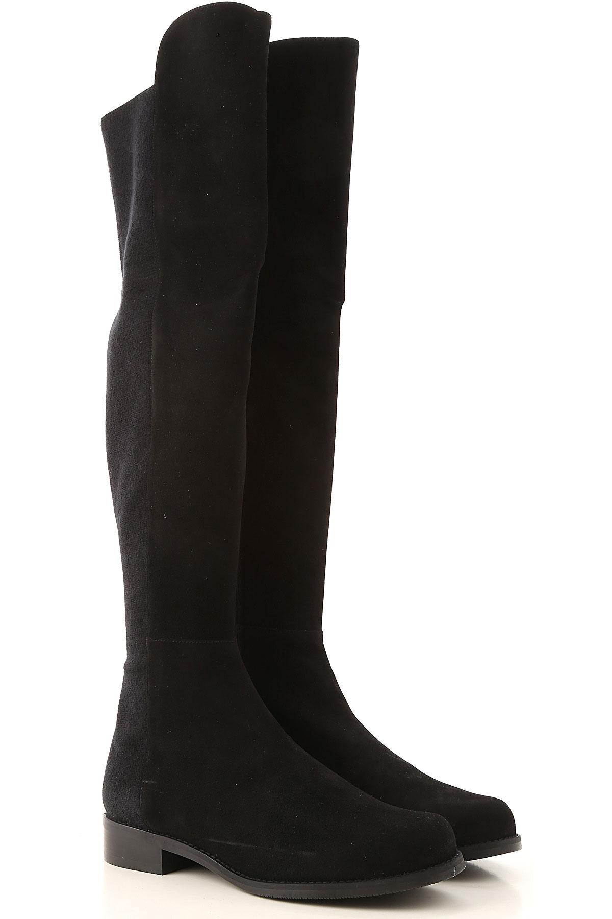 Stuart Weitzman Boots for Women, Booties On Sale, Black, suede, 2019, US 5 (EU 35.5) US 5.5 (EU 36)