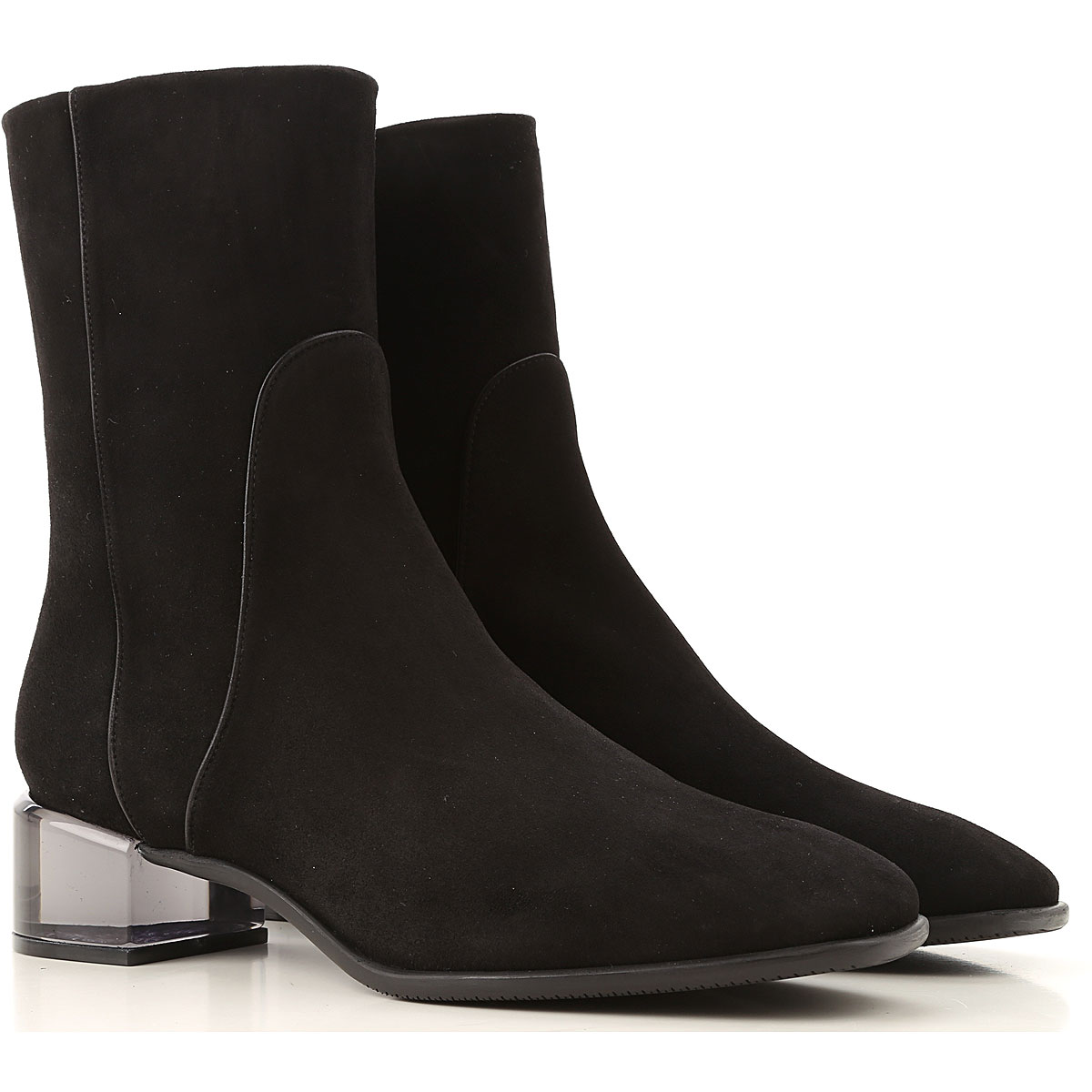 Stuart Weitzman Boots for Women, Booties On Sale, Black, Suede leather, 2019, 10 9