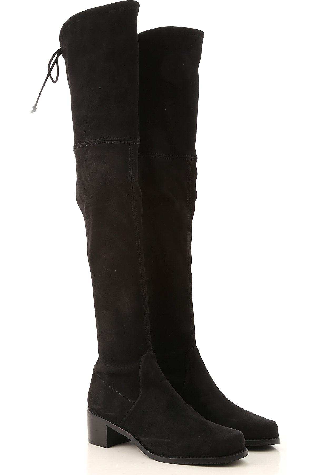 Stuart Weitzman Boots For Women, Booties On Sale, Black, Suede Leather, 2019, Us 6 (Eu 36.5) Us 4.5 ( Eu 35) Us 7.5  (Eu 38) Us 6.5 (Eu 37) Us 5.5 (Eu 36) Us 5 (Eu 35.5) Us 7 (Eu 37.5)