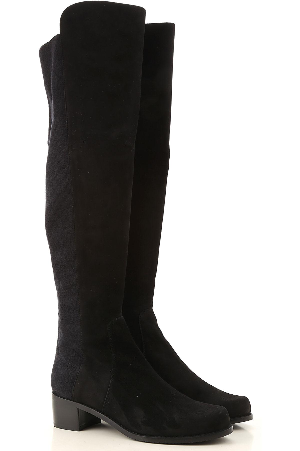 Stuart Weitzman Boots for Women, Booties On Sale, Black, Suede leather, 2019, US 5.5 (EU 36) US 7 (EU 37.5) US 7.5 (EU 38)