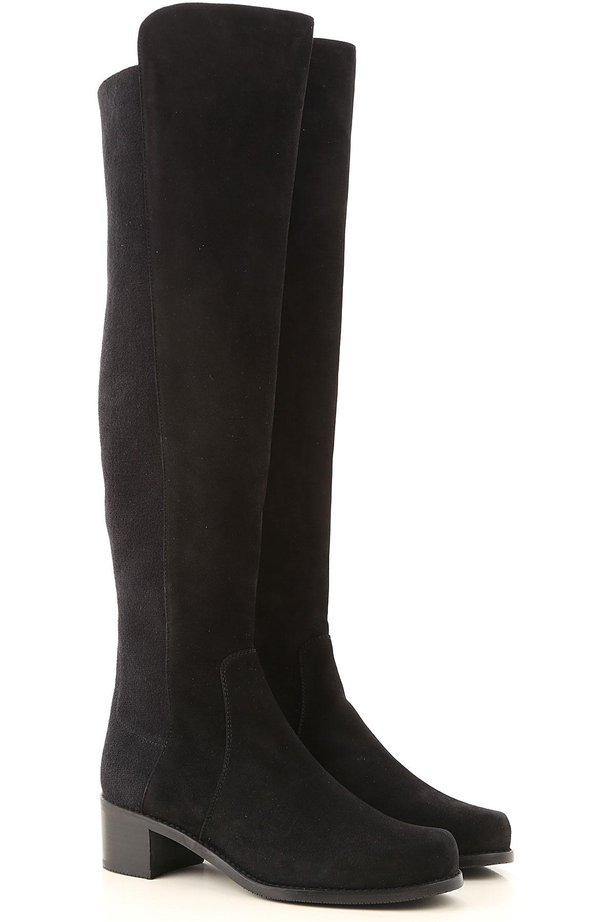 Stuart Weitzman Boots for Women, Booties On Sale, Black, suede, 2019, US 8.5 (EU 39) US 9.5 (EU 40)