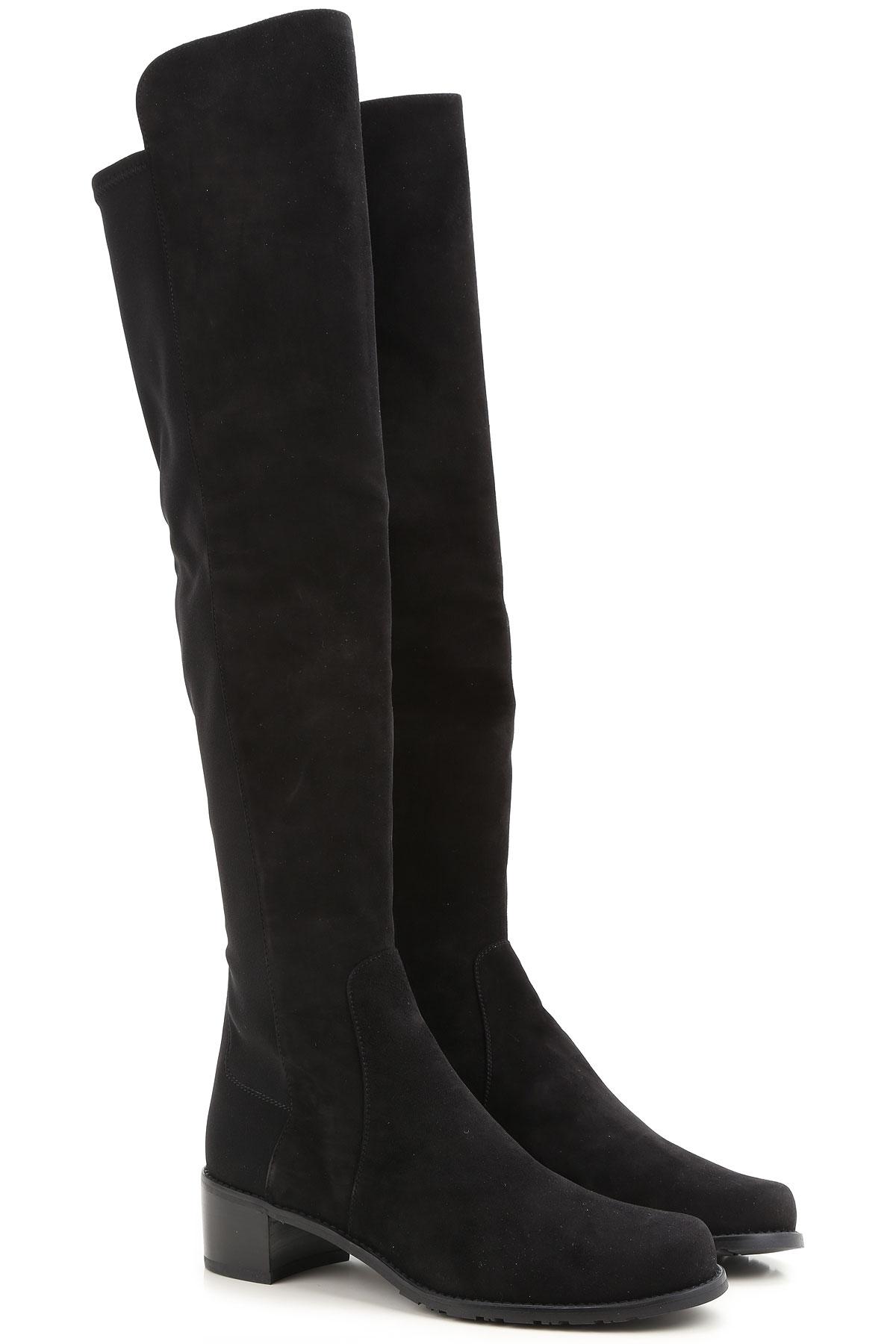 Stuart Weitzman Boots for Women, Booties On Sale, Black, suede, 2019, 6