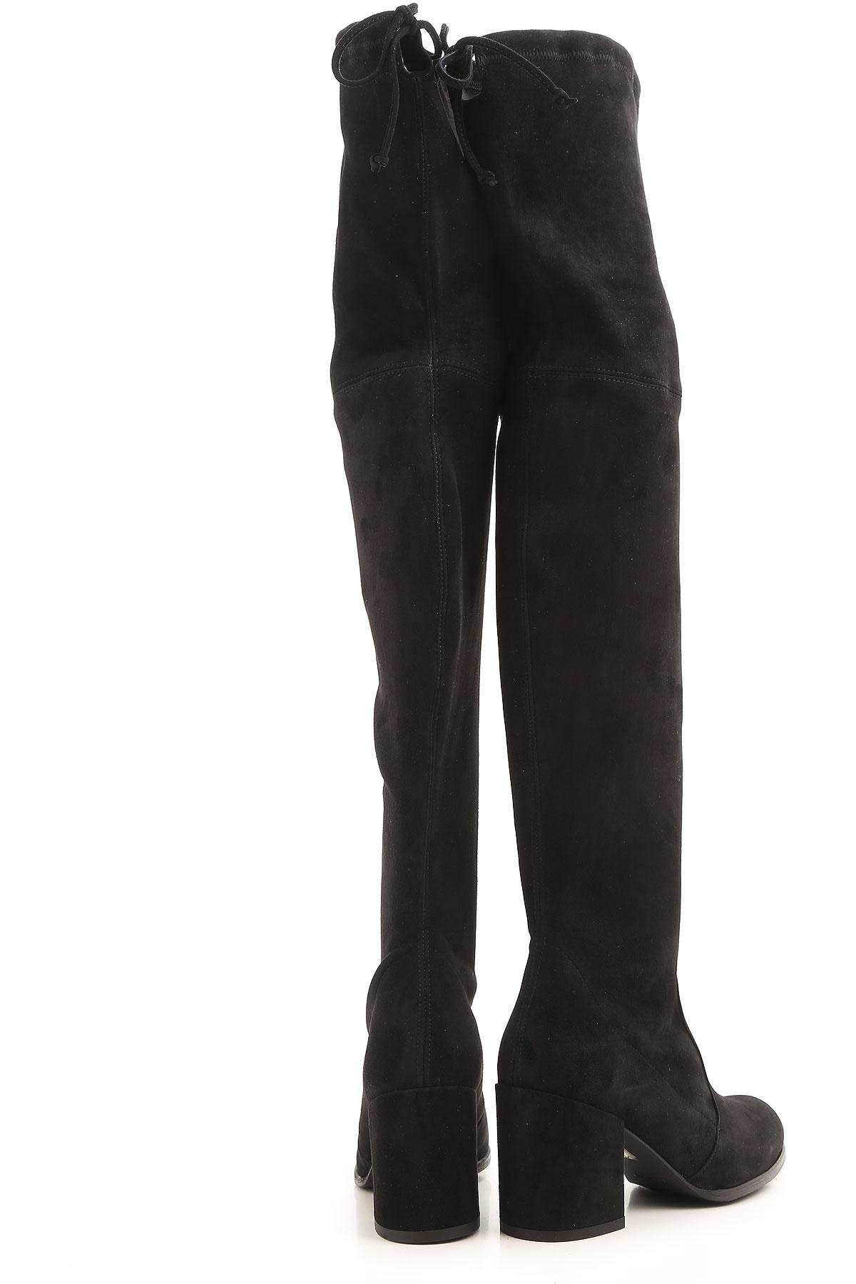 Stuart Weitzman Boots for Women, Booties On Sale, Black, suede, 2019, 9