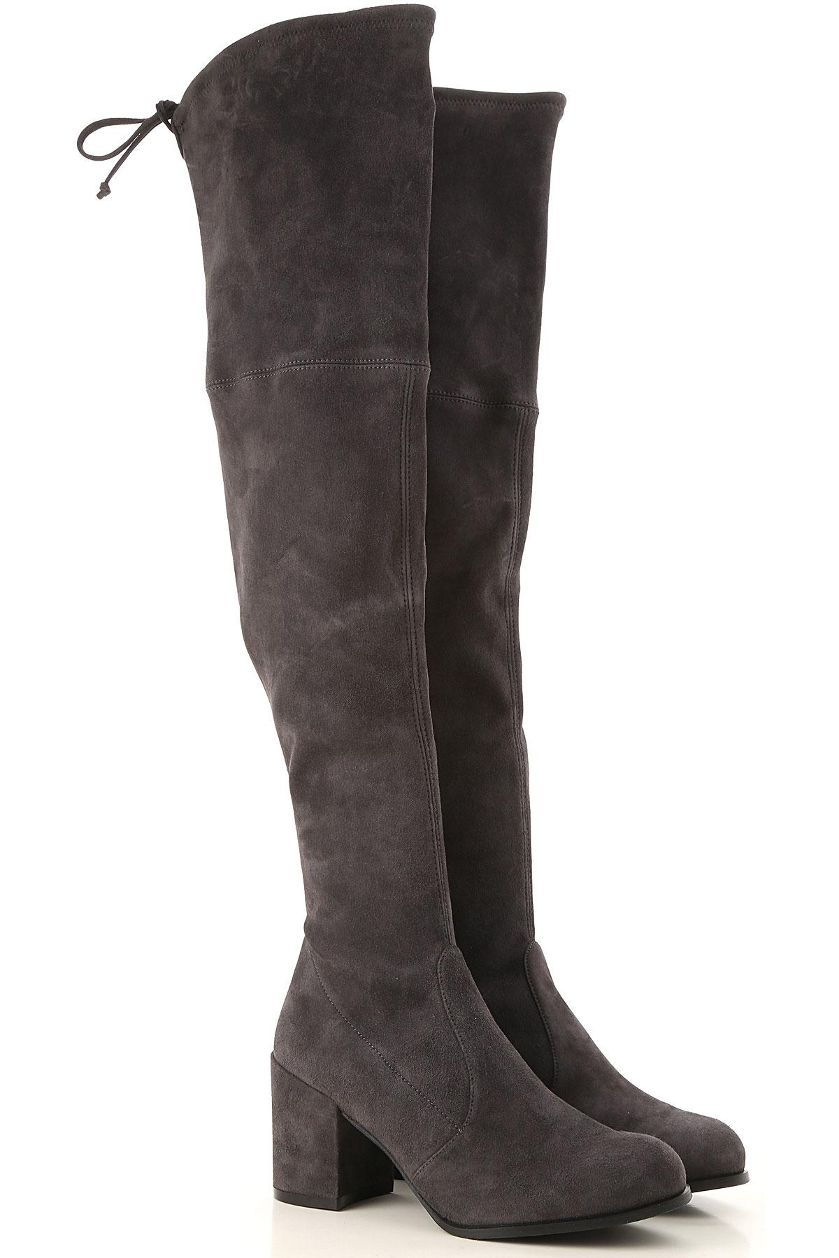 Stuart Weitzman Boots for Women, Booties On Sale, Asphalt Grey, suede, 2019, US 6.5 (EU 37) US 7.5 (EU 38) US 8.5 (EU 39)