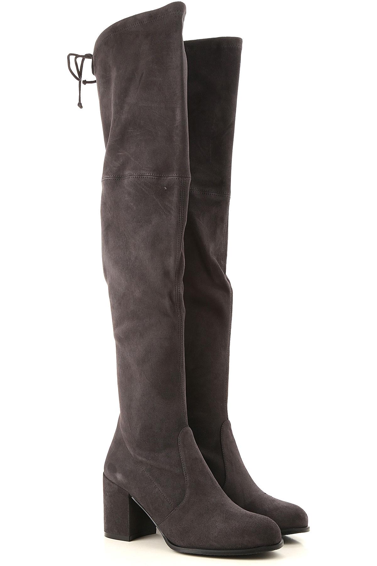 Stuart Weitzman Boots for Women, Booties On Sale, Asphalt Grey, Suede leather, 2019, US 6 (EU 36.5) US 6.5 (EU 37) US 7.5 (EU 38) US 8 (EU 38.5) US