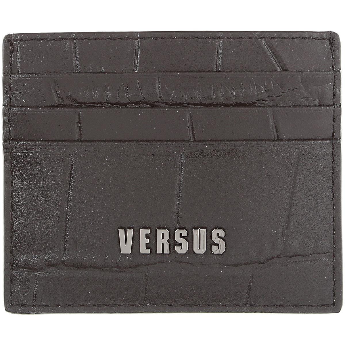 Gianni Versace Card Holder for Men On Sale, Black, Embossed Leather, 2019