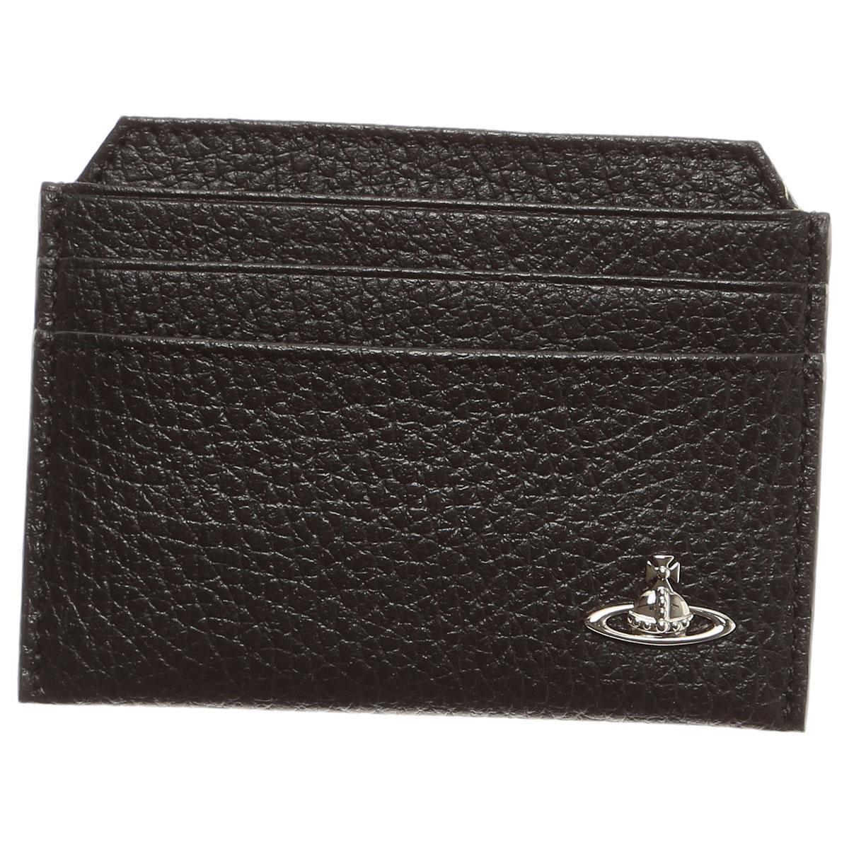 Vivienne Westwood Card Holder for Men On Sale, Black, Leather, 2019
