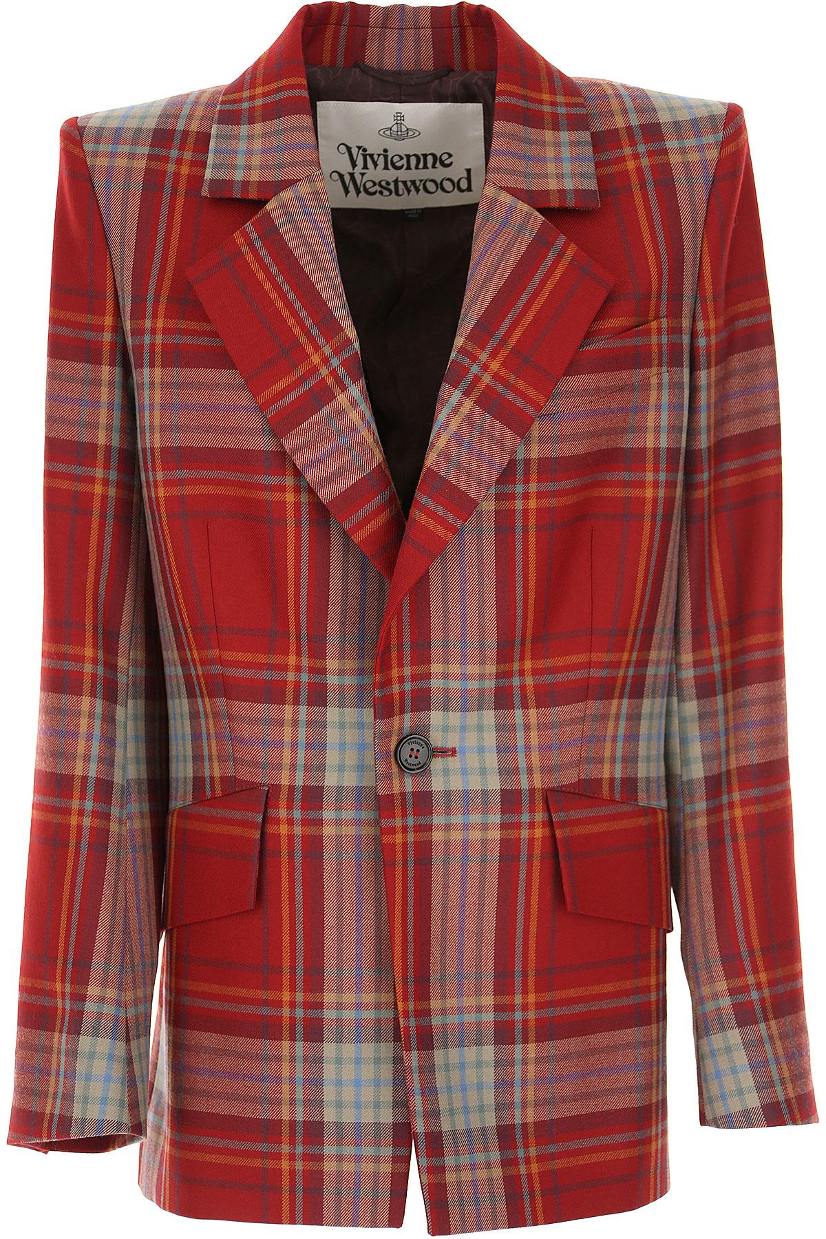 Vivienne Westwood Blazer for Women, Red, New Wool, 2019, 6 8