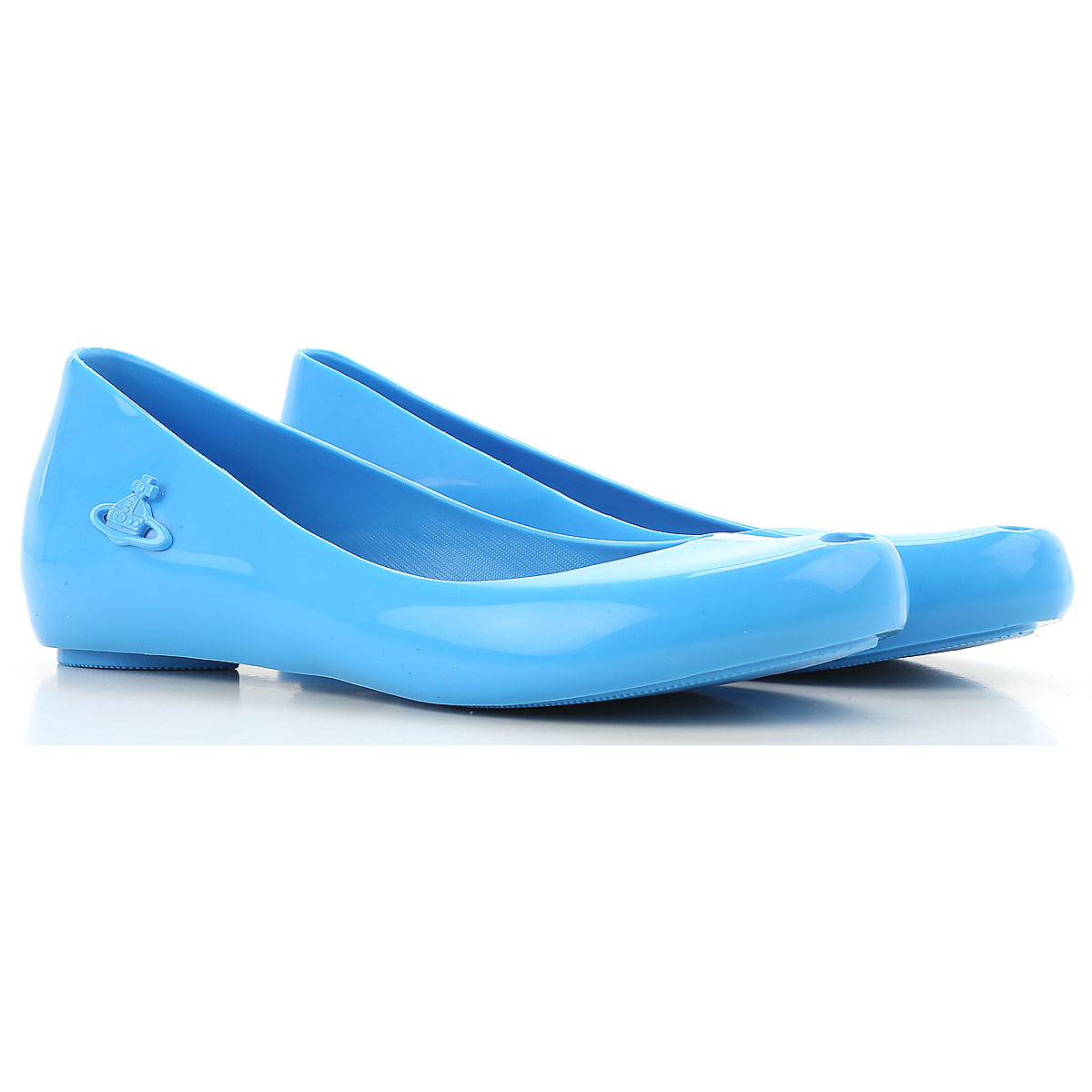 Image of Vivienne Westwood Ballet Flats Ballerina Shoes for Women, Anglomania + Melissa, Azure, PVC, 2017, 11