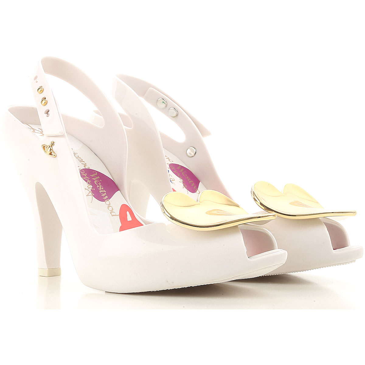 Image of Vivienne Westwood Peep Toe Open Shoes & Heels, Anglomania + Melissa, White, PVC, 2017, USA 6 - EUR 37 USA 9 - EUR 40