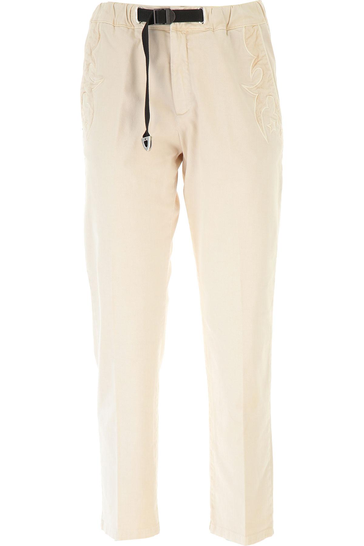 White Sand Pantalon Femme Pas cher en Soldes, Light Natural, Coton, 2019, 38 40 42