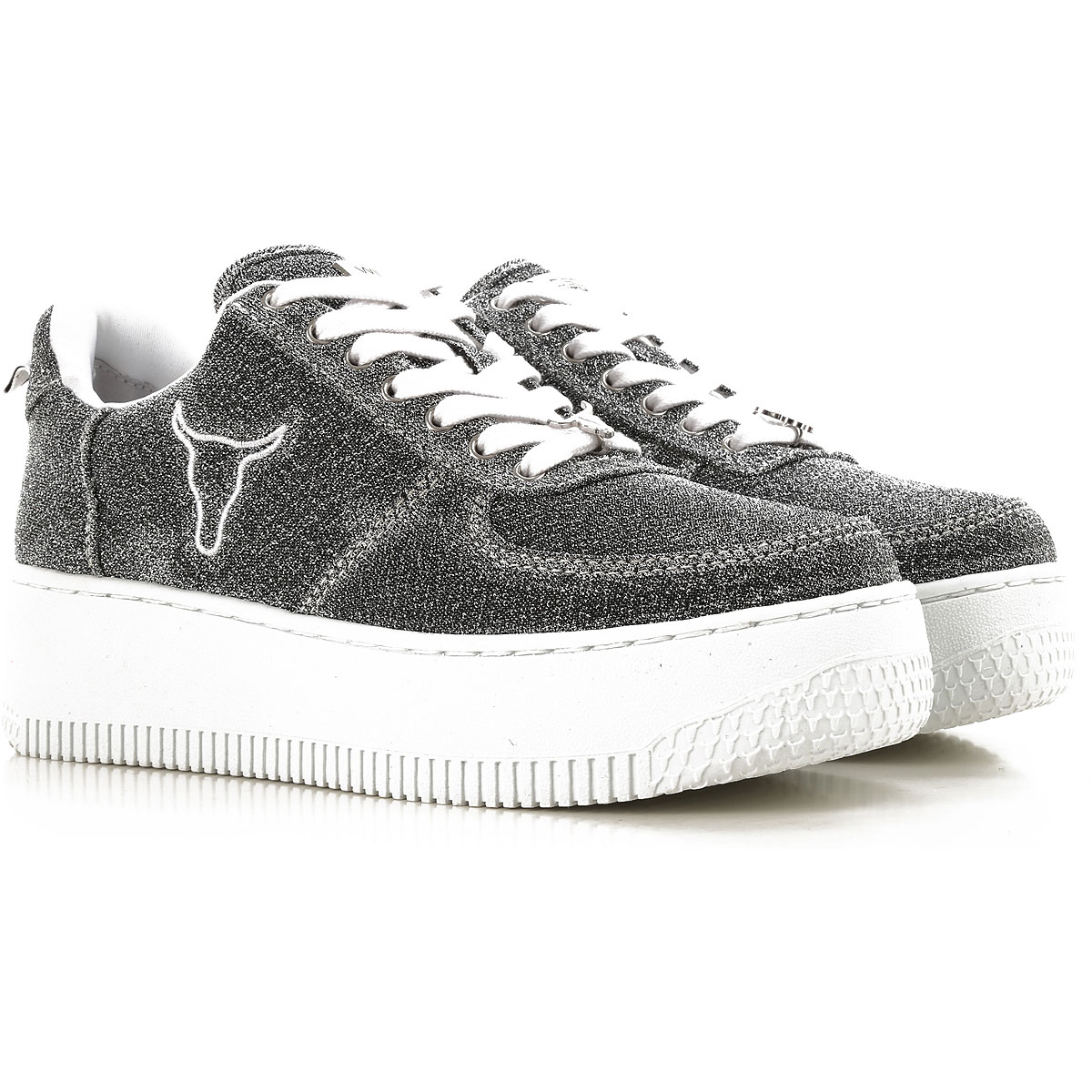 Image of Windsor Smith Sneakers for Women, Silver, Fabric, 2017, US 5 (EU 36) US 6 (EU 36.5) US 7 (EU 38) US 8 (EU 39) US 9 (EU 40)