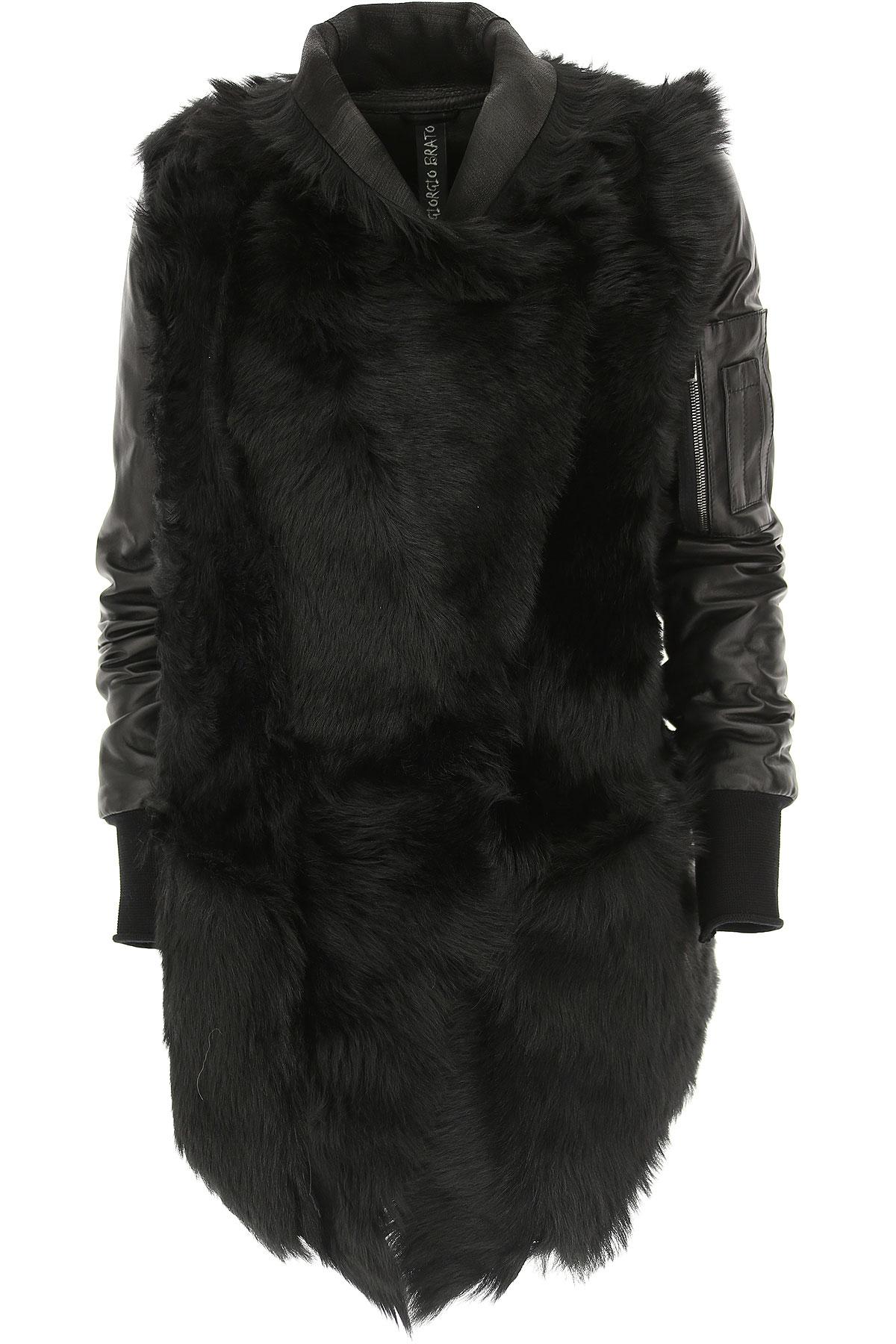 Image of WLG by Giorgio Brato Women\'s Coat, Black, Leather, 2017, 10 4 6 8