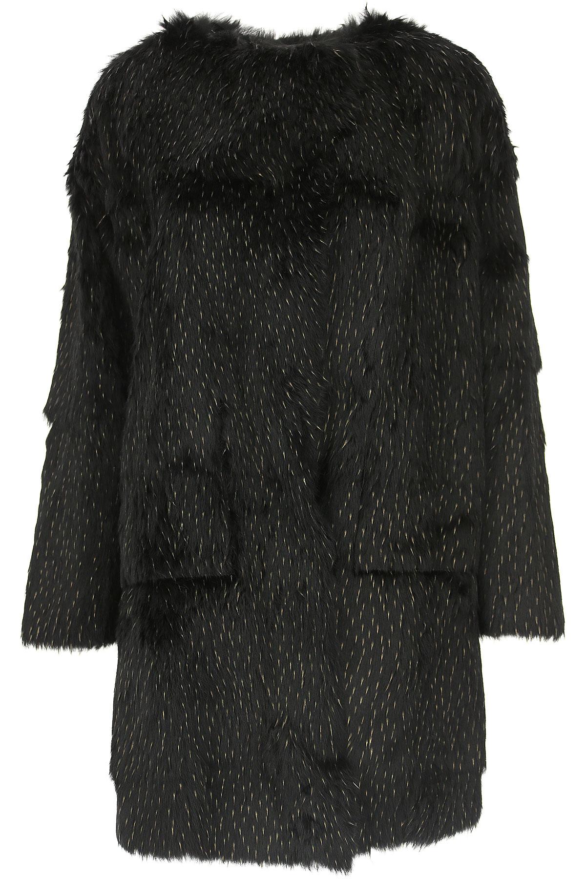 Image of WLG by Giorgio Brato Women\'s Coat, Black, Fur, 2017, 10 4 6 8
