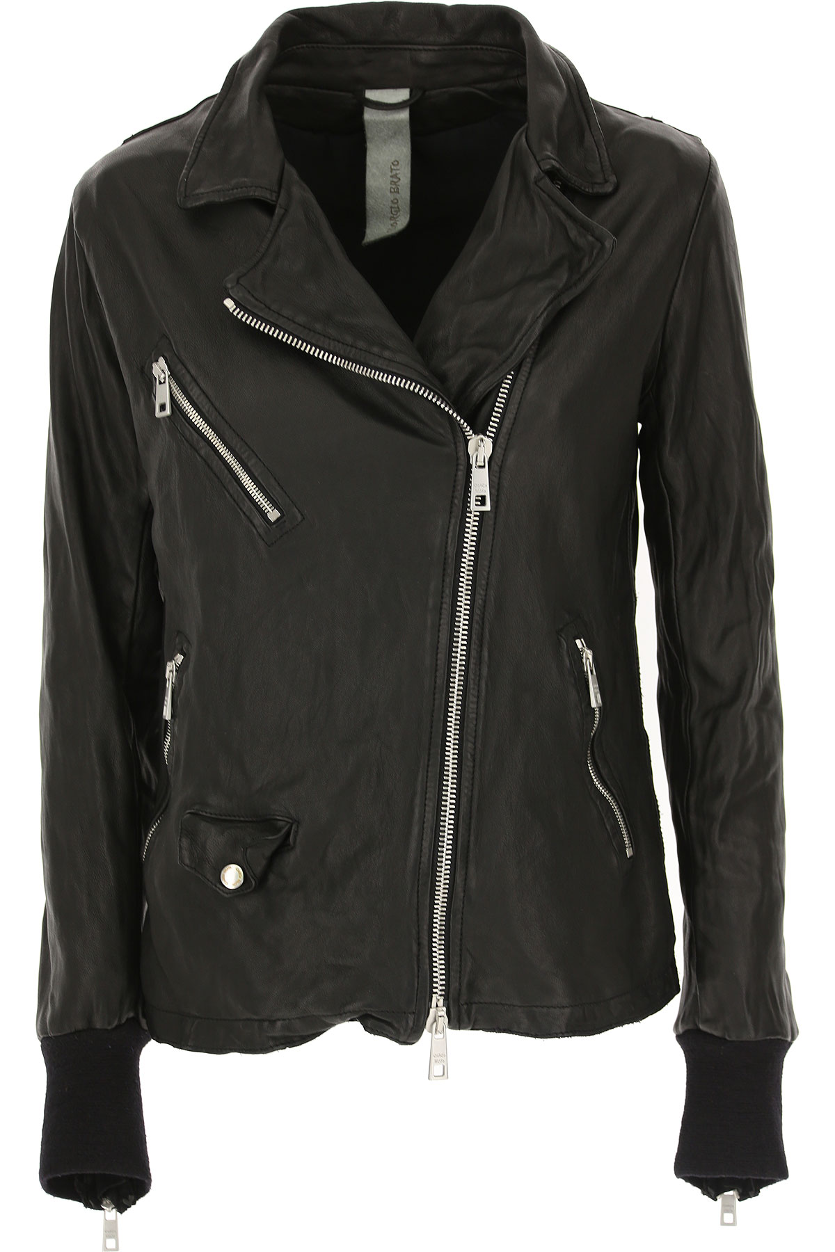 Image of WLG by Giorgio Brato Leather Jacket for Women, Black, Leather, 2017, 10 4 6 8