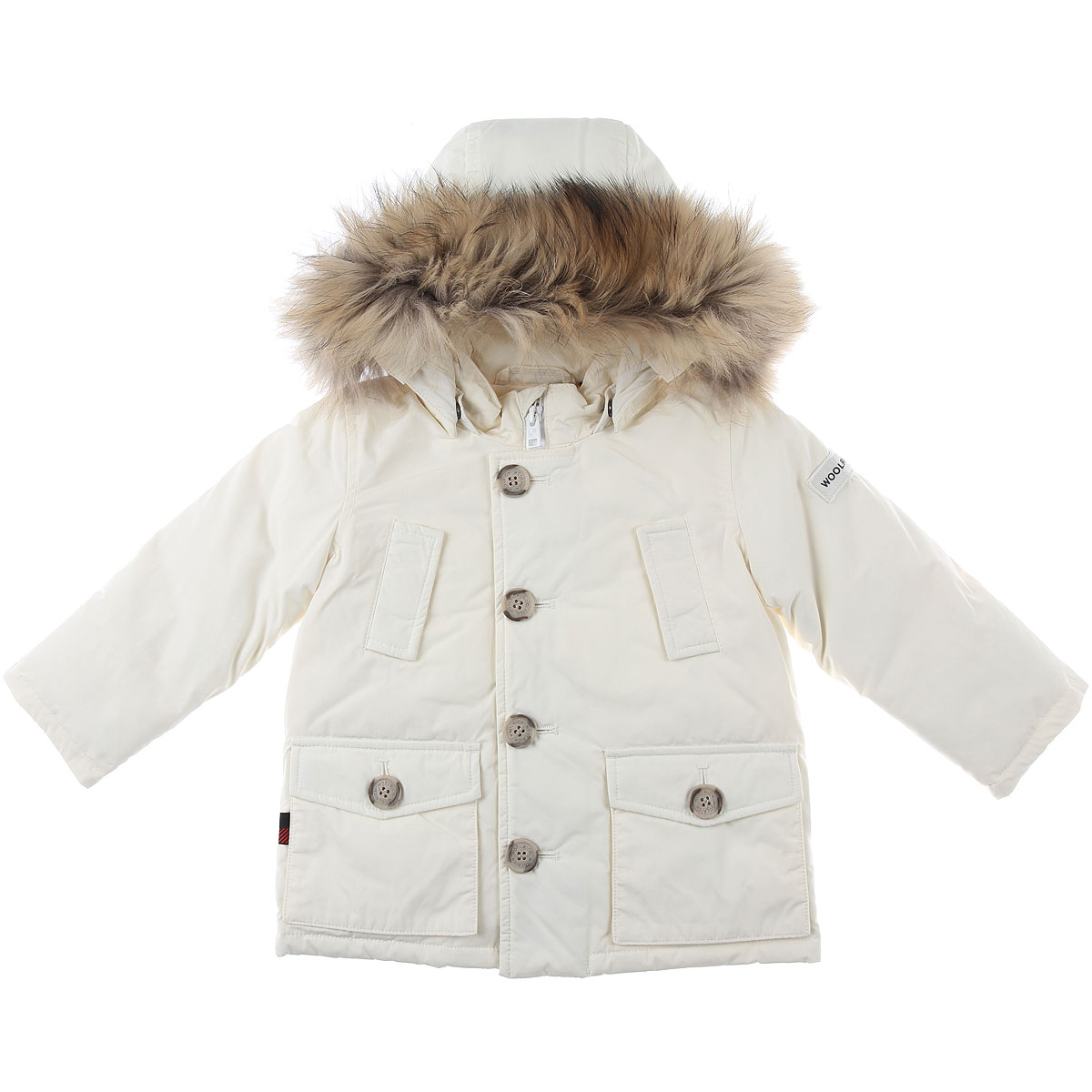 Woolrich Baby Down Jacket for Girls On Sale, Cream, polyester, 2019, 12M 2Y 3Y
