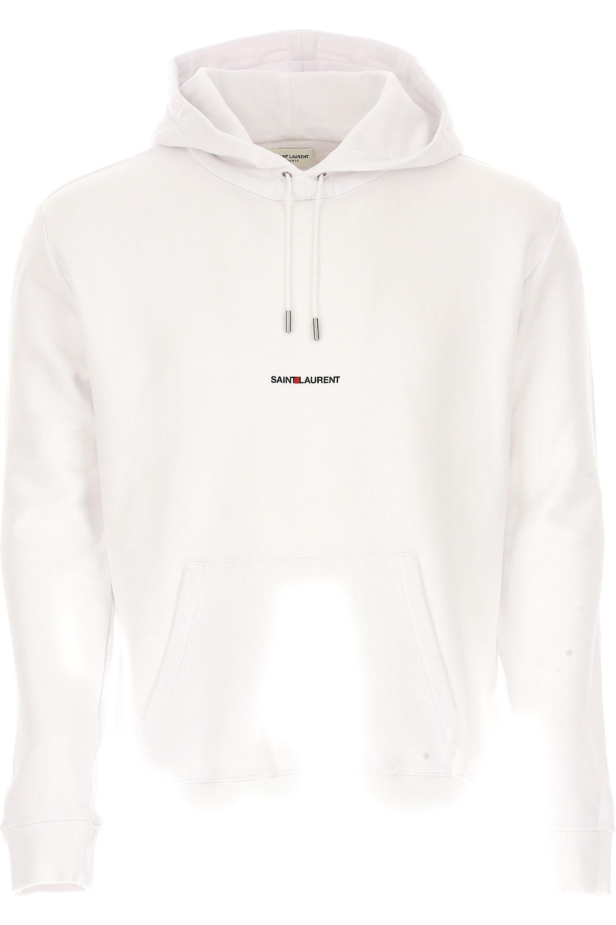 Yves Saint Laurent Sweatshirt for Men, White, Cotton, 2017, M S USA-445594