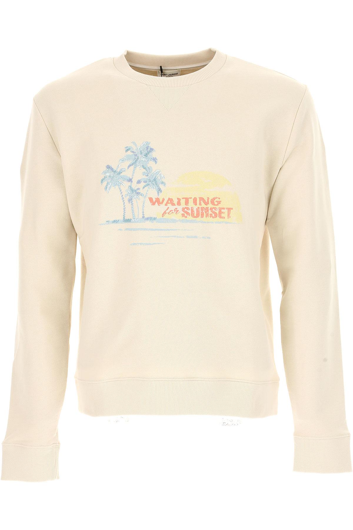 Yves Saint Laurent Sweatshirt for Men, Off White, Cotton, 2017, L M USA-436264