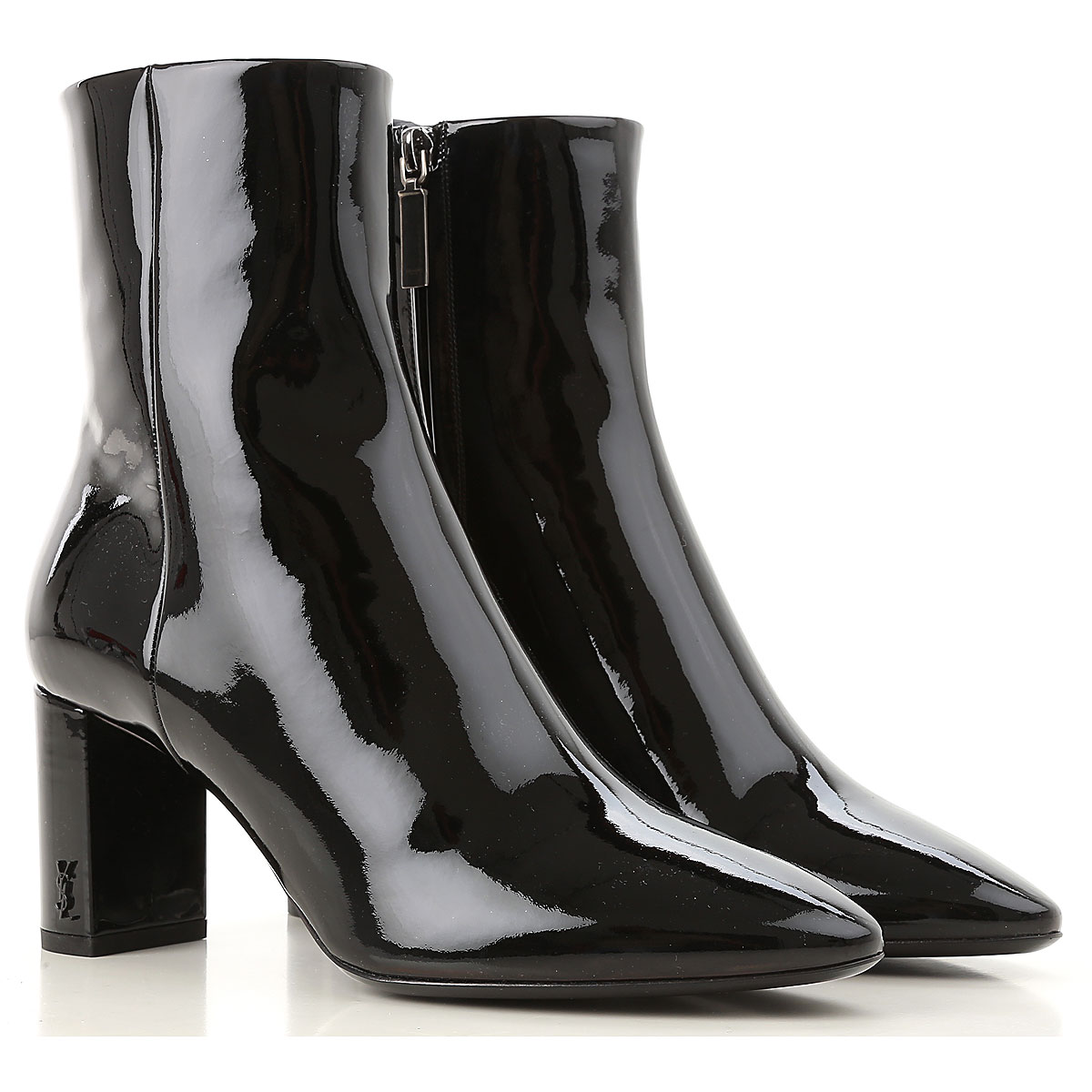 Yves Saint Laurent Boots for Women, Booties On Sale in Outlet, Black, Patent Leather, 2019, 5 5.5 6 9