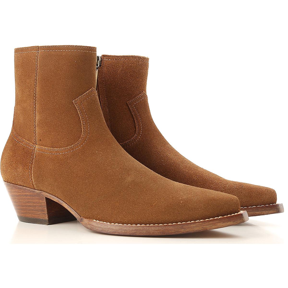 Image of Yves Saint Laurent Boots for Men, Booties, Beige, suede, 2017, 7.5 8 8.5