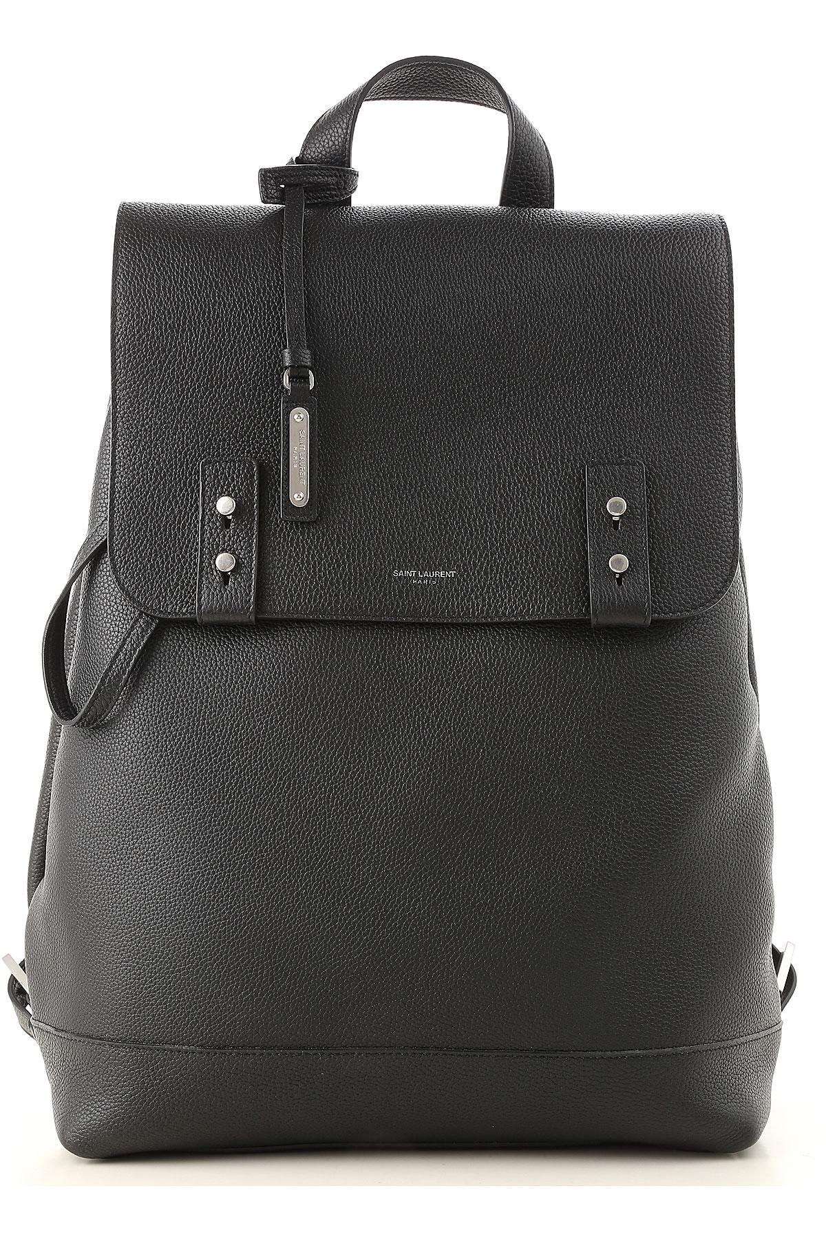 Image of Yves Saint Laurent Backpack for Men, Black, Leather, 2017