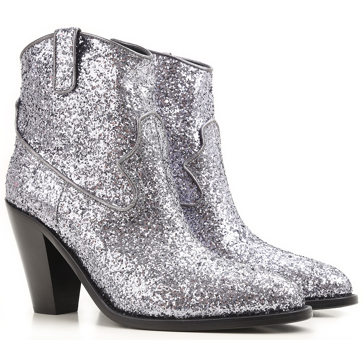 Yves Saint Laurent Boots For Women, Booties On Sale In Outlet, Titanium, Leather, 2021, 3.5 6