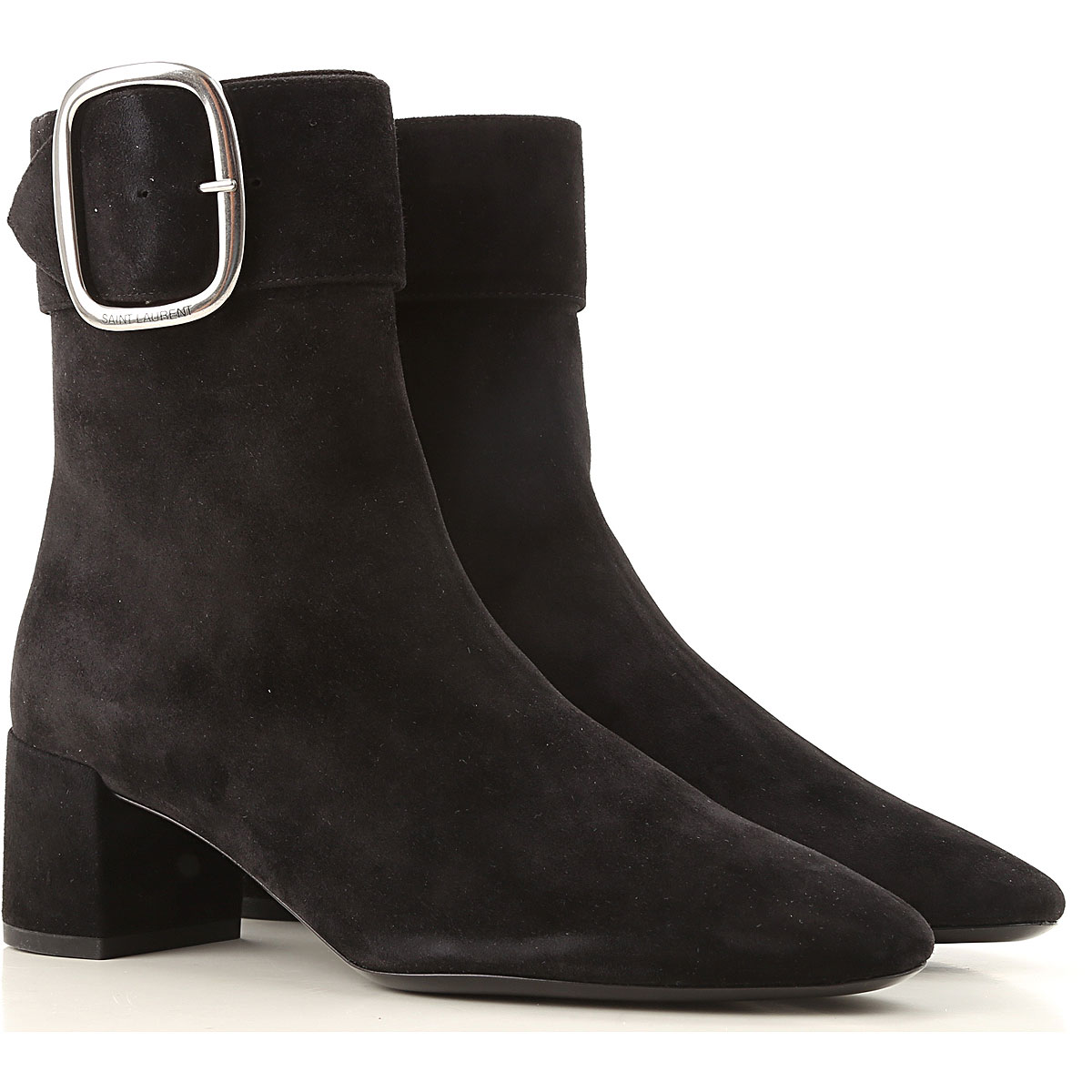 Yves Saint Laurent Boots For Women, Booties On Sale In Outlet, Black, Suede Leather, 2021, 2.5 3 4 7.5