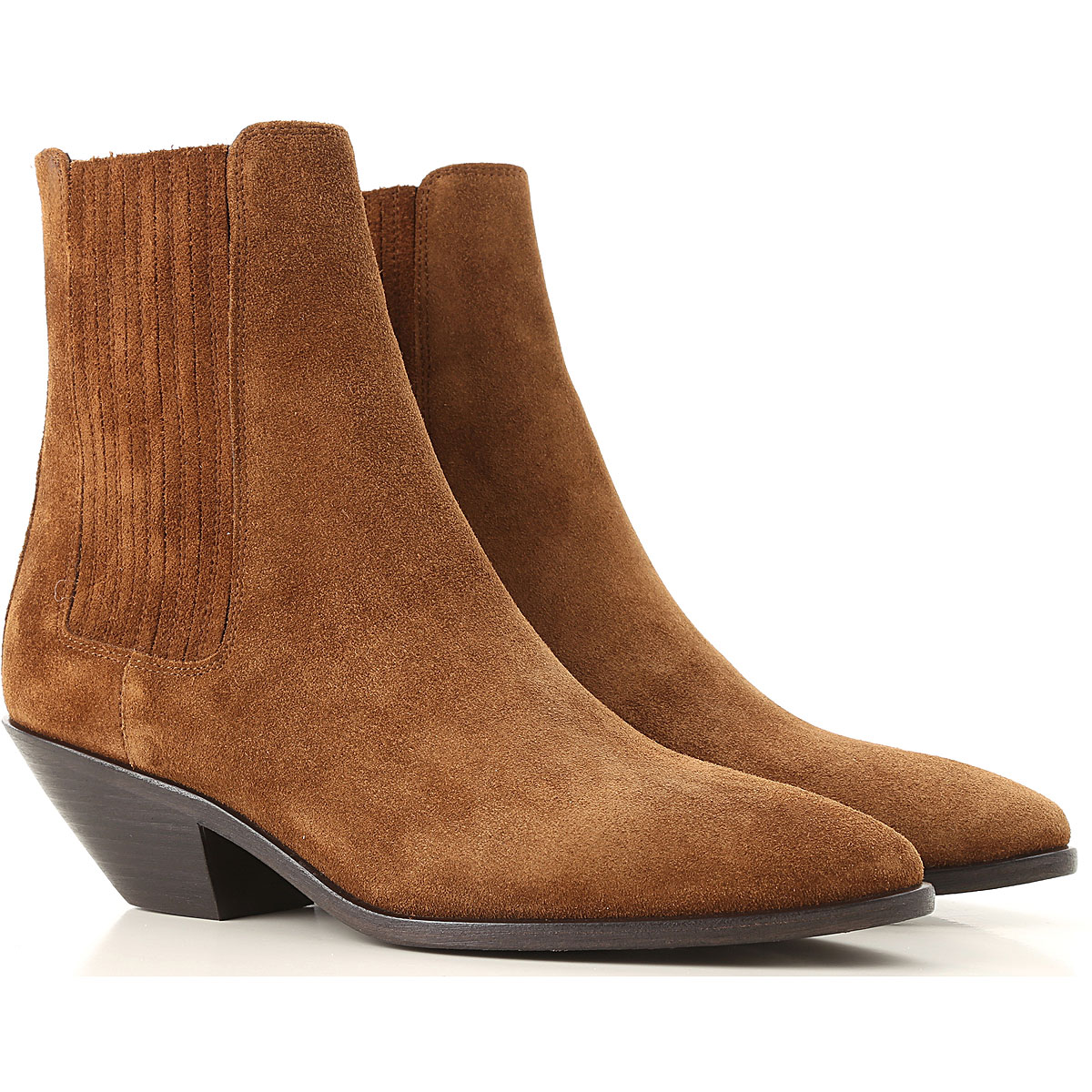 Yves Saint Laurent Chelsea Boots for Women On Sale, Brown, suede, 2019, 10 5.5 6 8 8.5