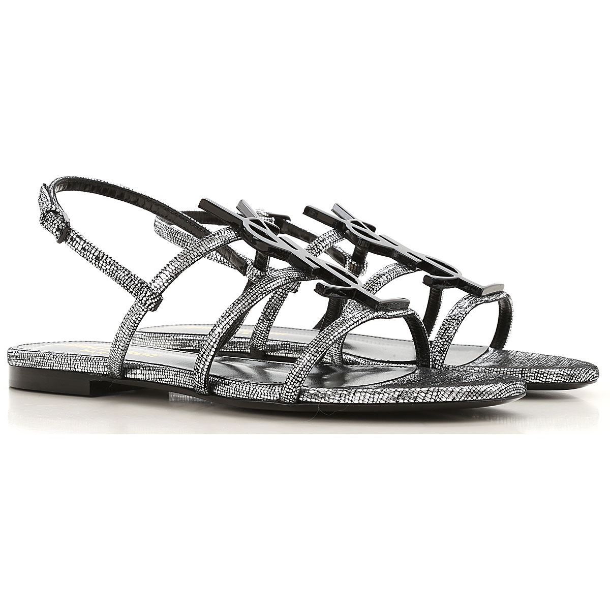 Yves Saint Laurent Flip Flops Flat Sandals Womens On Sale, Silver, Leather, 2019, 10 5 6 6.5 7 8 8.5