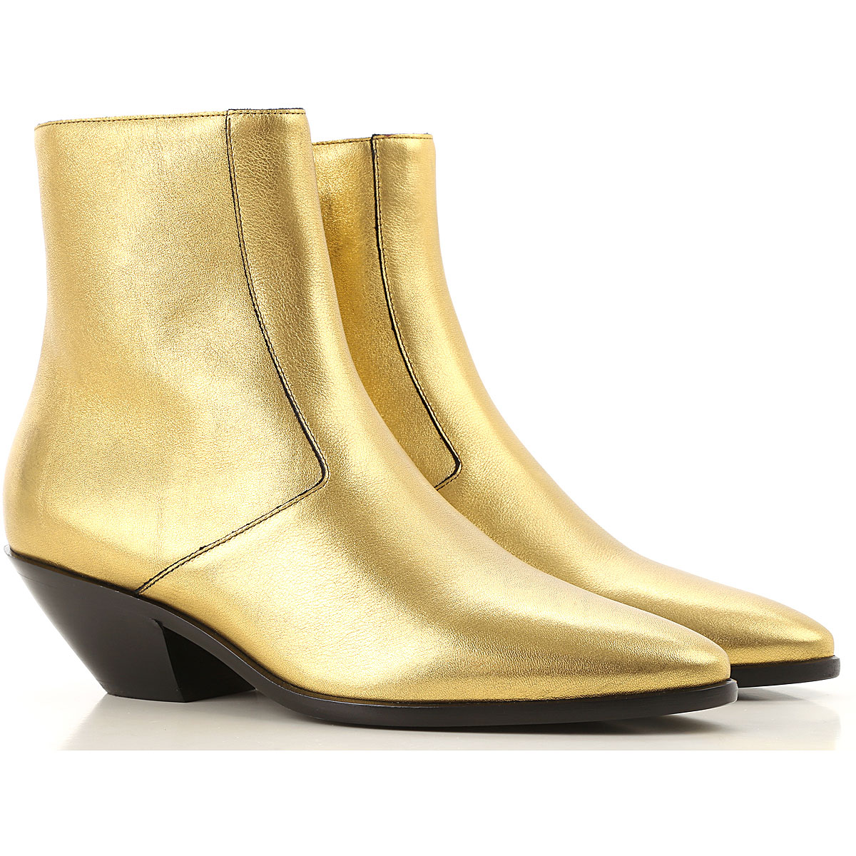 Yves Saint Laurent Boots for Women, Booties On Sale, Metallic Gold, Leather, 2019, 7