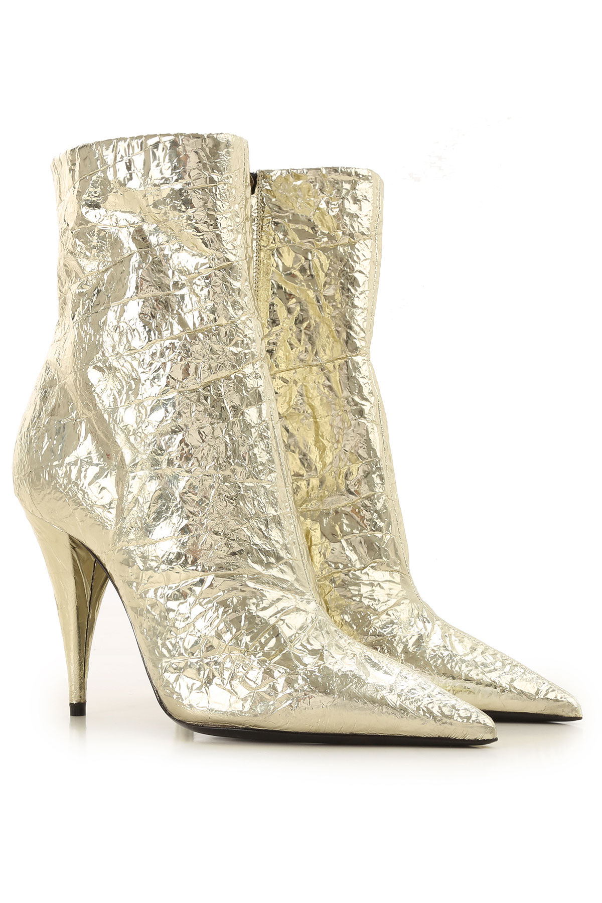 Yves Saint Laurent Boots for Women, Booties On Sale, Platinum, Leather, 2019, 5.5 6 8.5