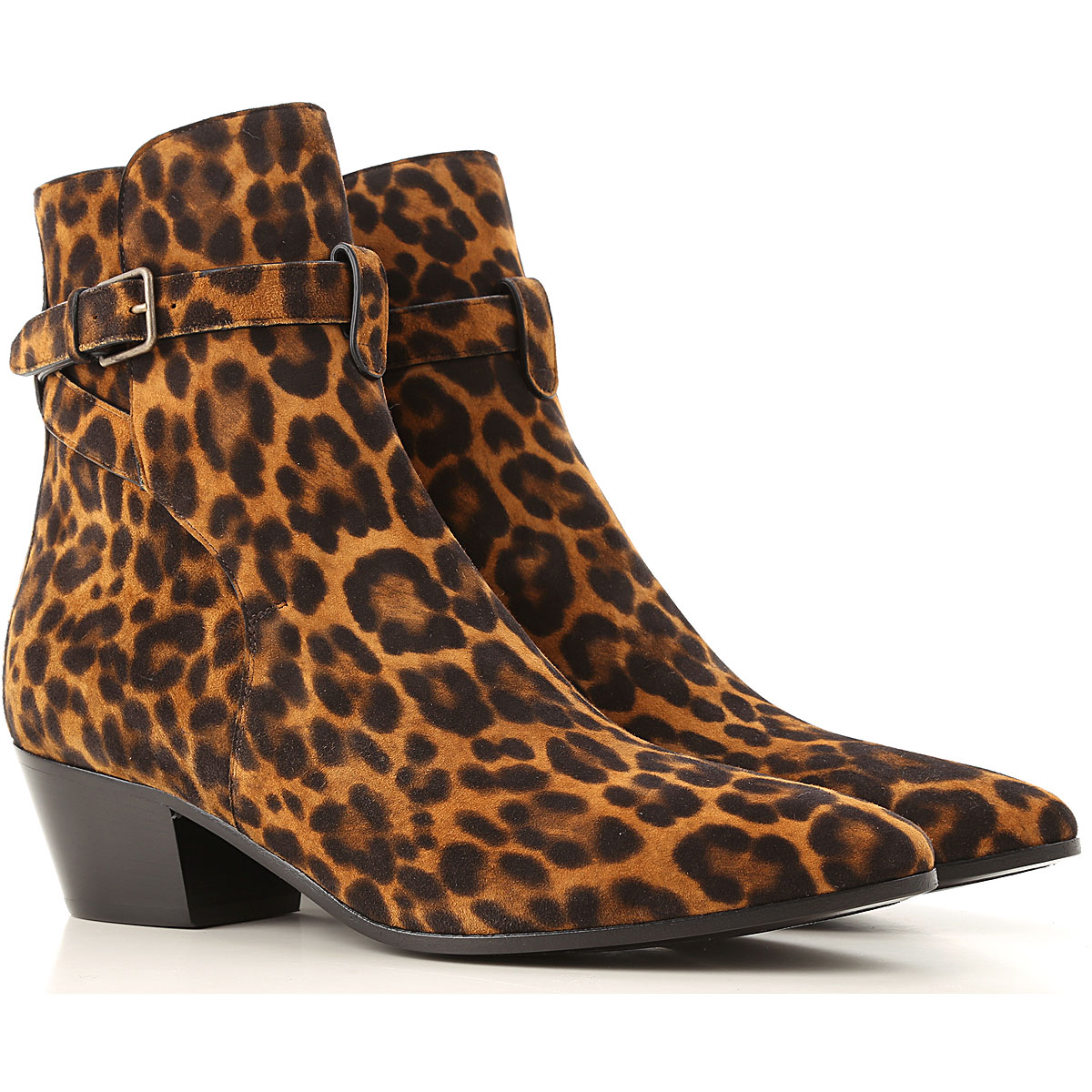 Yves Saint Laurent Boots for Women, Booties On Sale, Spotted Natural Coffee, Leather, 2019, 10 7 8.5 9