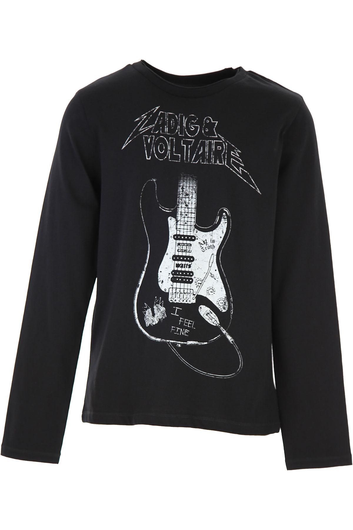 Zadig & Voltaire Kids T-Shirt for Boys On Sale, Black, Cotton, 2019, 10Y 12Y 8Y