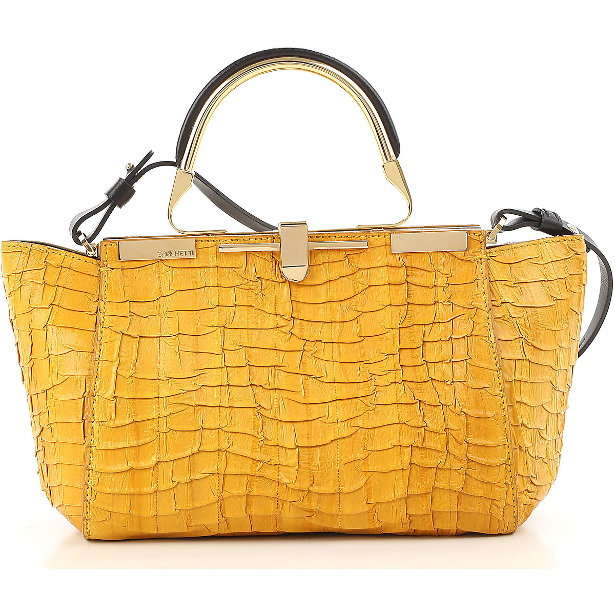 Image of Zanchetti Shoulder Bag for Women On Sale, Mustard, Leather, 2017