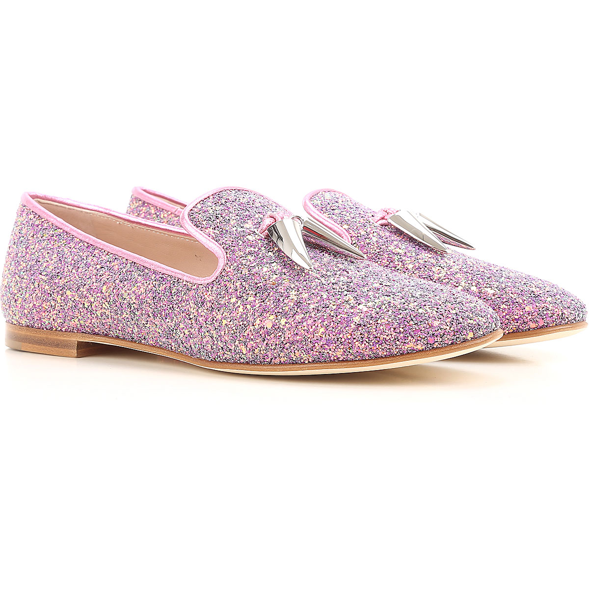 Giuseppe Zanotti Design Loafers for Women On Sale in Outlet, Glitter Pink, Leather, 2019, 5 6.5