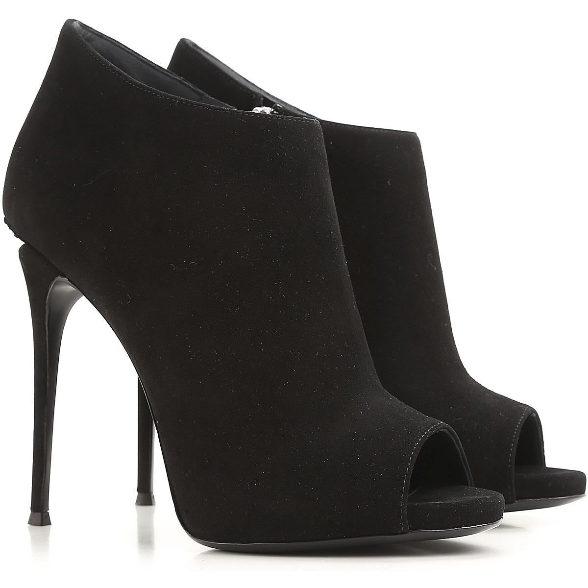 Image of Giuseppe Zanotti Design Peep Toe Open Shoes & Heels, Black, suede, 2017, 11 6 8 9