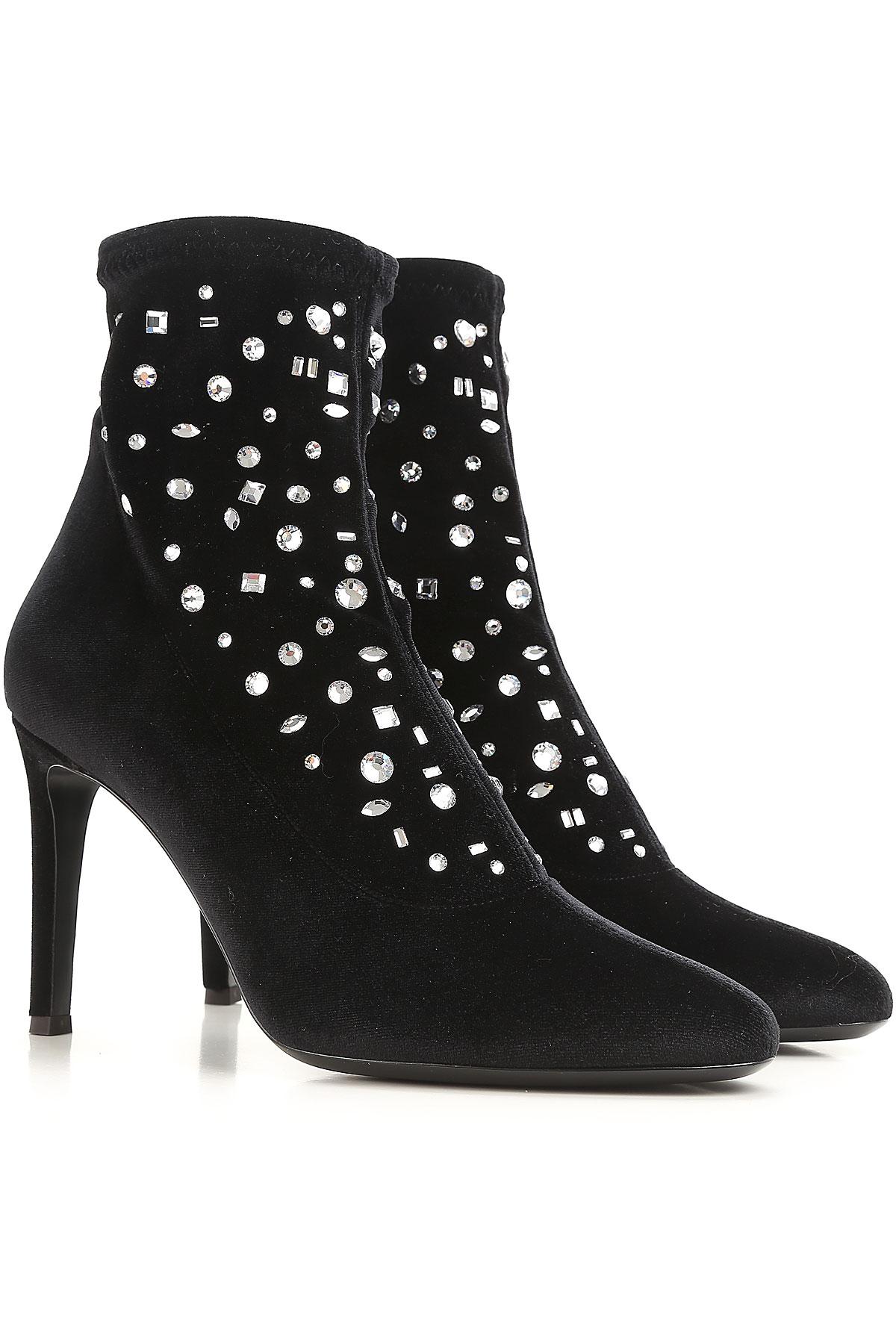 Giuseppe Zanotti Design Boots for Women, Booties On Sale in Outlet, Black, Velvet, 2019, 10 9
